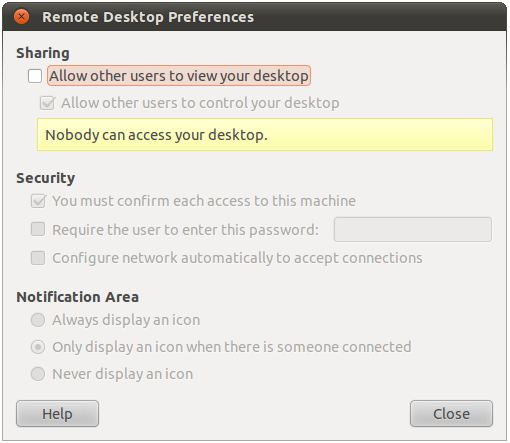 Activating Ubuntu remote desktop access