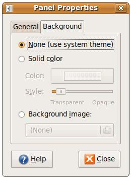 Changing the backgound of an Ubuntu desktop panel