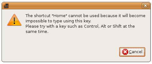 Invalid keyboard shortcut selection