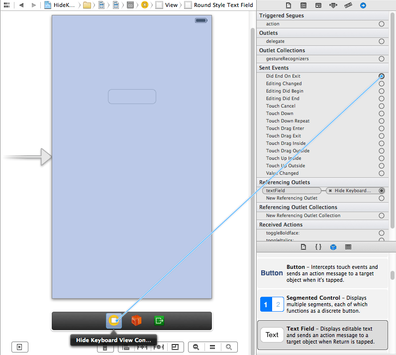Connecting the Did End On Exit event to a view controller action method in Xcode 5