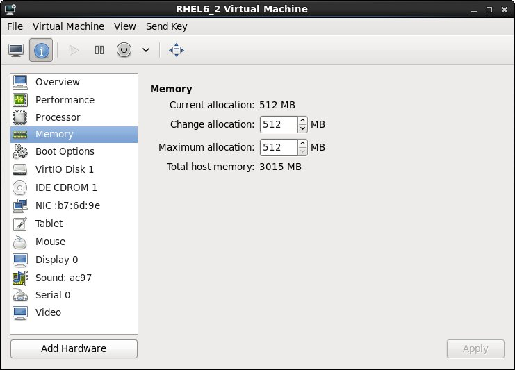 Configuring the memory allocated to an RHEL 6 KVM guest
