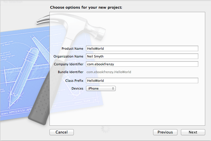 Creating a new project in Xcode 5
