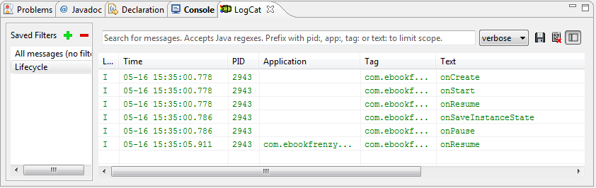 The LogCat output from the running application