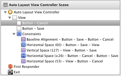 Constraints in Xcode Document Outline panel