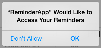 Requesting permission to access reminders