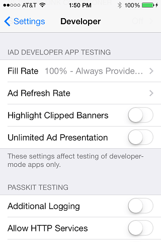 iOS 7 iAds device settings