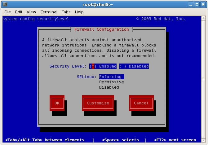 The lokkit firewall configuration tool running on RHEL