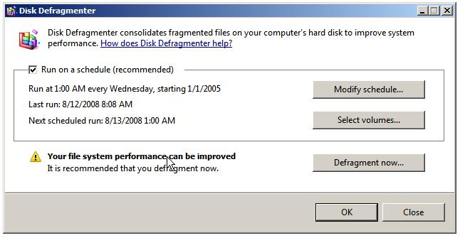 Setting automated disk defragmentation