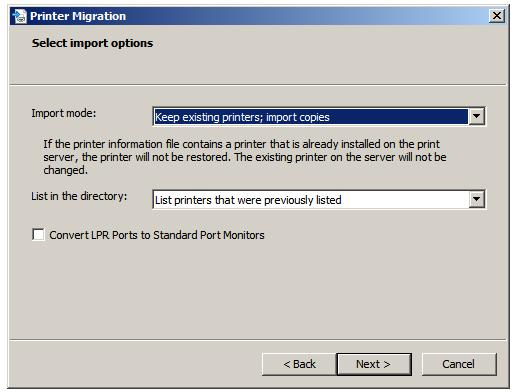 Managing Remote Print Servers Windows_server_2008_select_printer_import_options