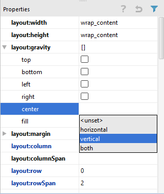Setting a GridLayout center gravity property in Android Studio