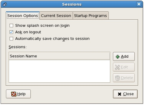 The CentOS Session Options Screen
