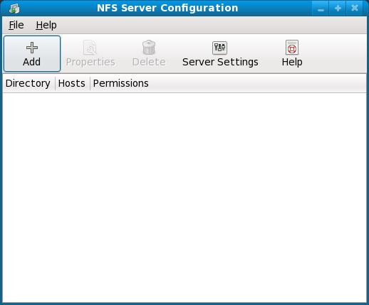 The Fedora NFS configuration tool