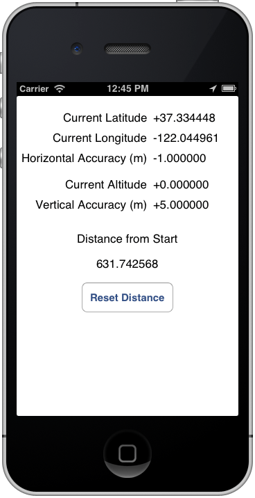 An iPhone iOS 6 location application running