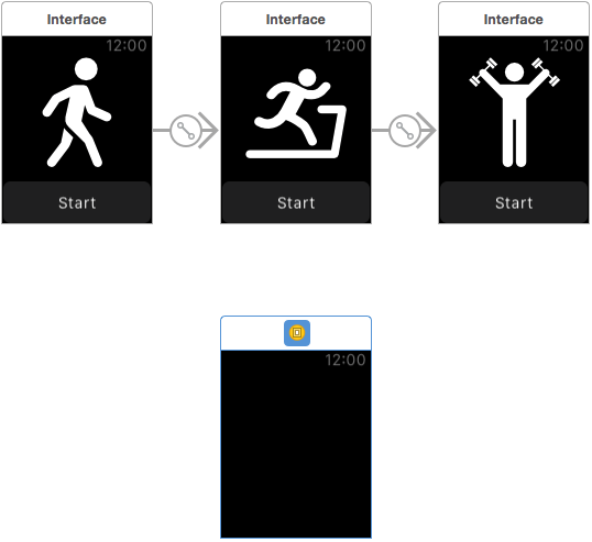 Adding the WatchKit modal scene to the storyboard