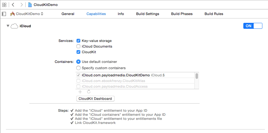 Xcode 6 enable cloudkit.png