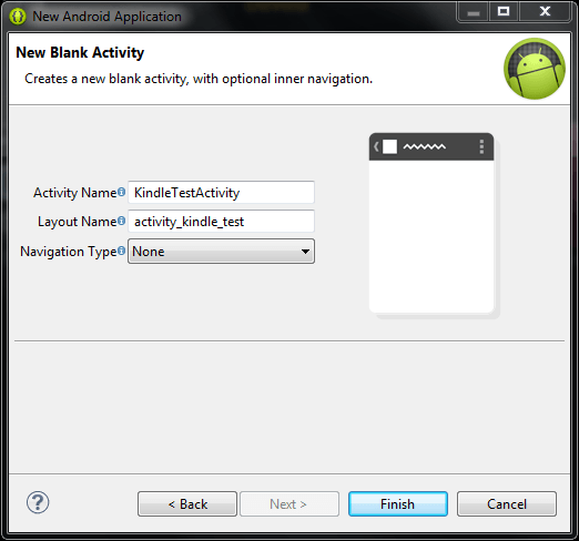 Configuring a new Android Blank Activity